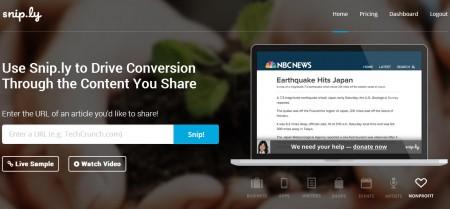Le raccourcisseur d'URLs Sniply permet d'intégrer un CTA aux contenus partagés