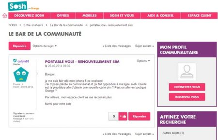 forum communauté sosh
