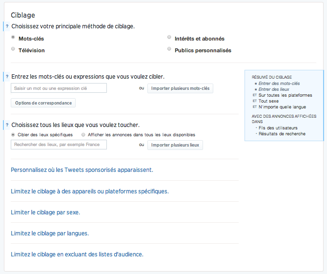 Twitter Ads: Options de ciblages