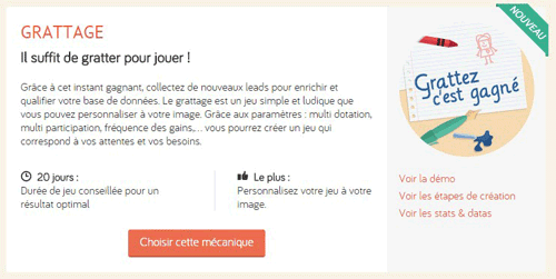 creer jeu grattage collecte email