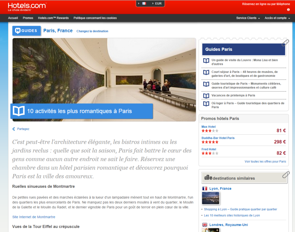 Content Marketing du site hotels-com