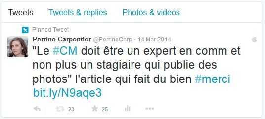 tweet pinné