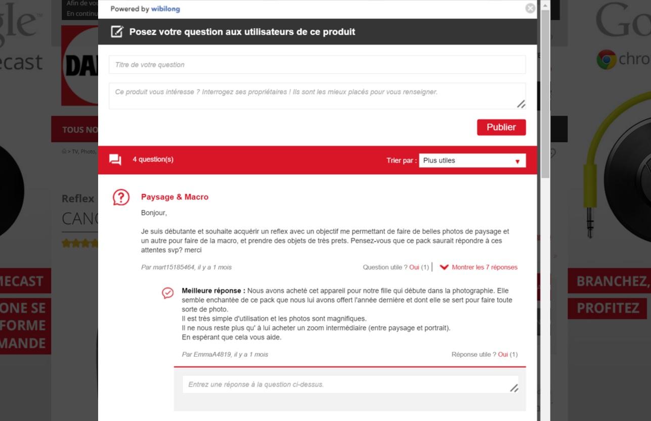 questions utilisateurs