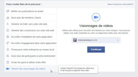 promouvoir vidéo Facebook ads