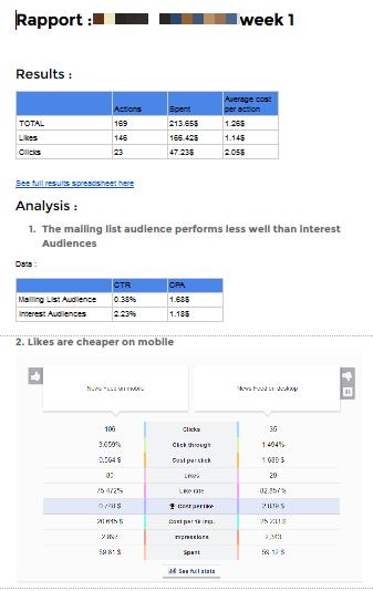 Les deux premières pages d'un rapport d'optimisation AHT