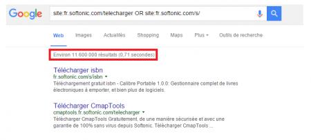 Image illustrant le nombre de pages de recherches automatisées de Softonic présentent dans l'Index de Google