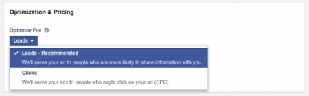 optimisation facebook lead ads
