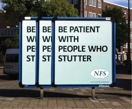 ©Be patient with people who stutter, Y&R, Not Just Fim, 2011