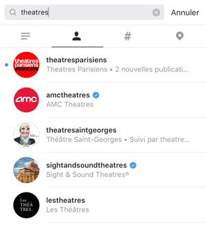 instagram recherche comptes