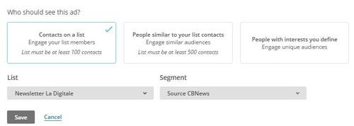 Utiliser un segment Mailchimp dans une publicité Facebook