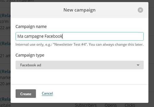 Créer une campagne Facebook dans Mailchimp