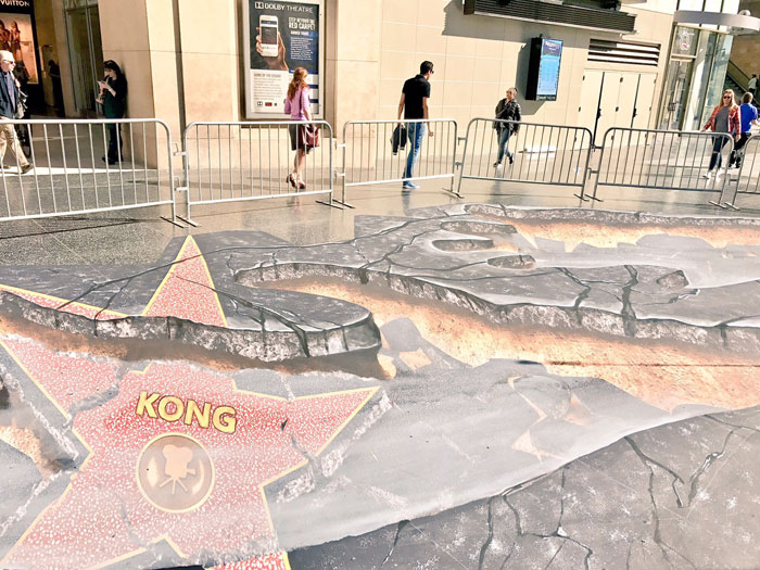 Campagne de street marketing pour le film Kong Skull Island : Hollywood Walk of Fame