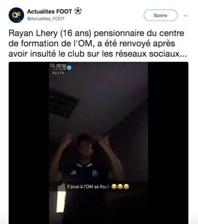 Rayan Lhery renvoyé de l'OM
