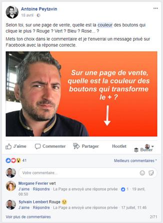Antoine Peytavin : chatbots commentaires dans une publication Facebook