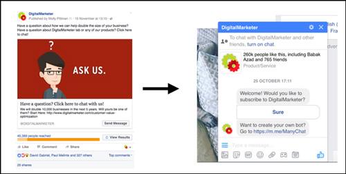 exemple publicite facebook chatbot