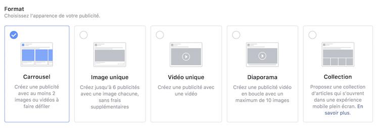 formats publicitaire facebook
