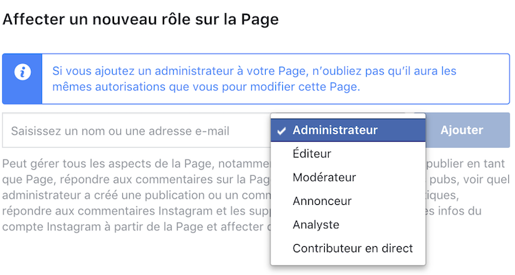 role page facebook