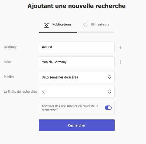 outil marketing instagram recherche