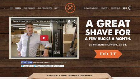 Page d'accueil du Dollar Shave Club