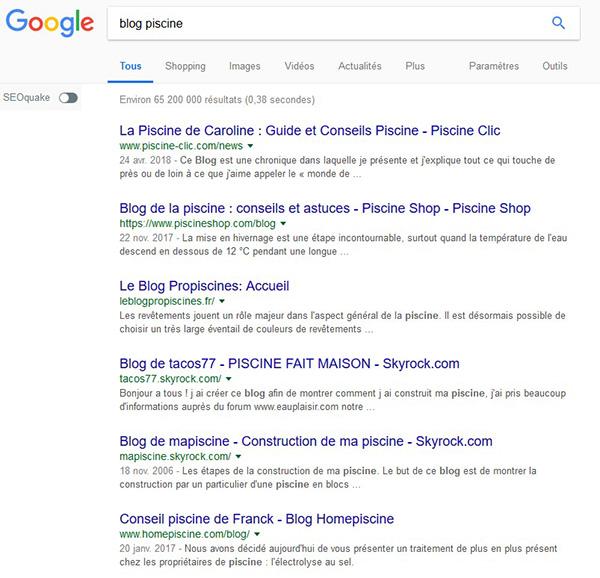 """la requête """"blog piscine"""" tapée dans Google"""