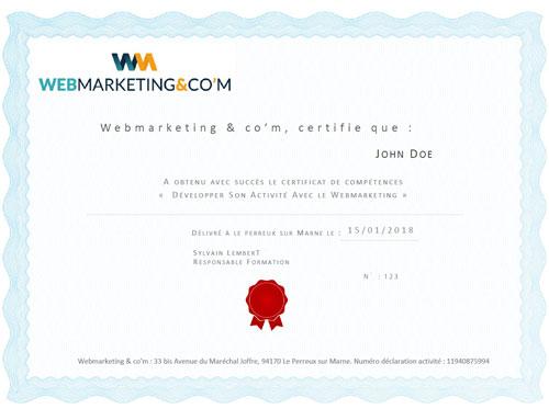 certificat développer activité webmarketing