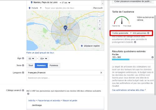 Publicité facebook exemple ciblage