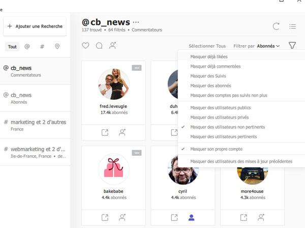 outil marketing instagram filtrer utilisateurs