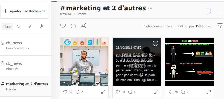 recherche publications instagram