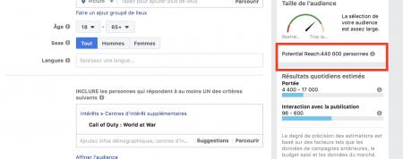 ciblage facebook : jeux vidéos