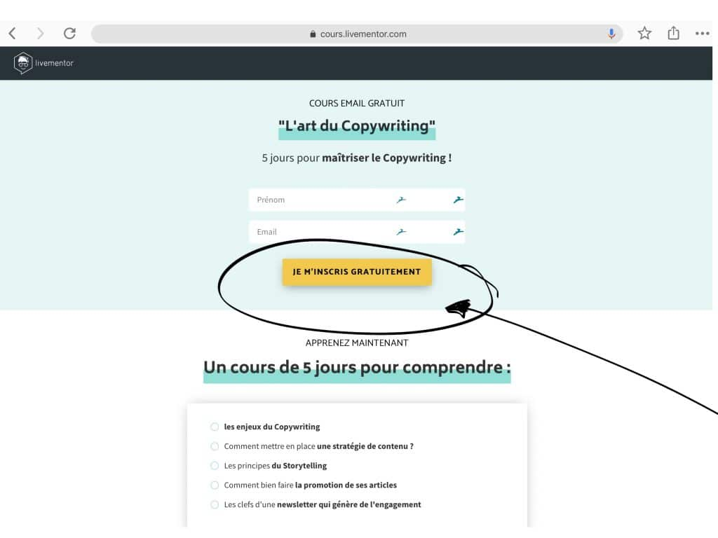 appel à l'action livementor