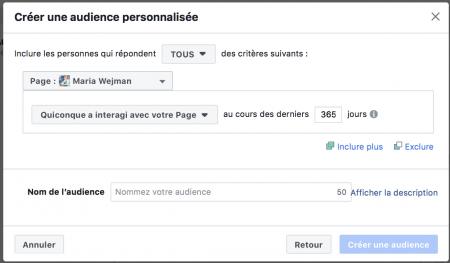ciblage facebook : audience personnalisée