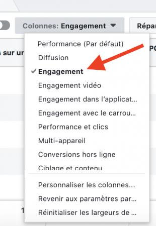ciblage facebook : colonne engagement