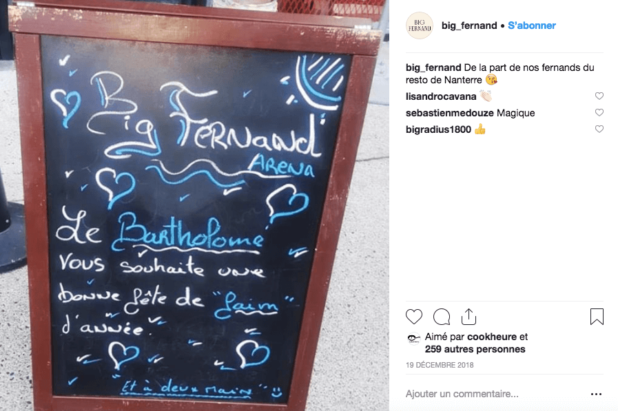 Publication Instagram Big Fernand - fête de faim d'année