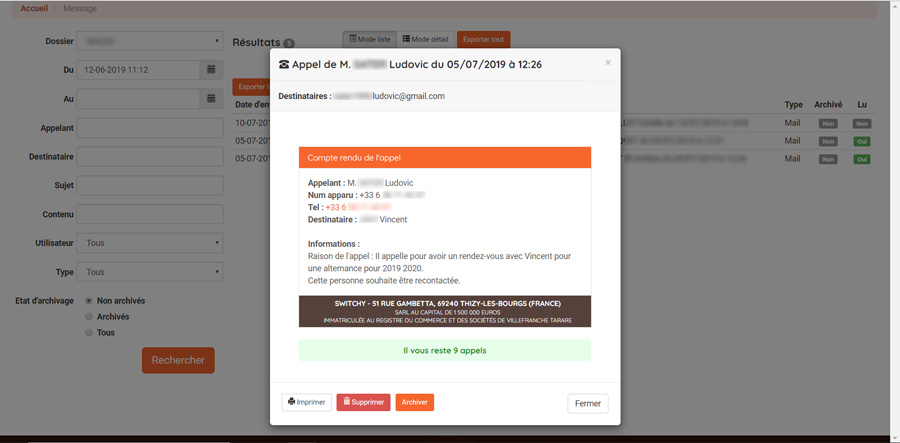 email recap message telephonique-tranfert
