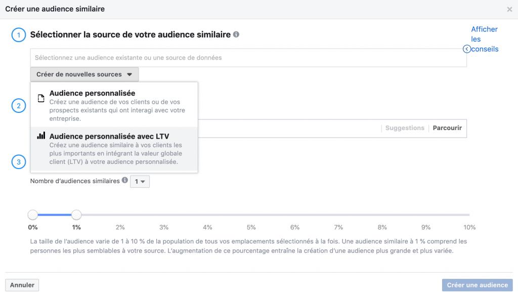 Facebook créer audience similaire valeur vie client