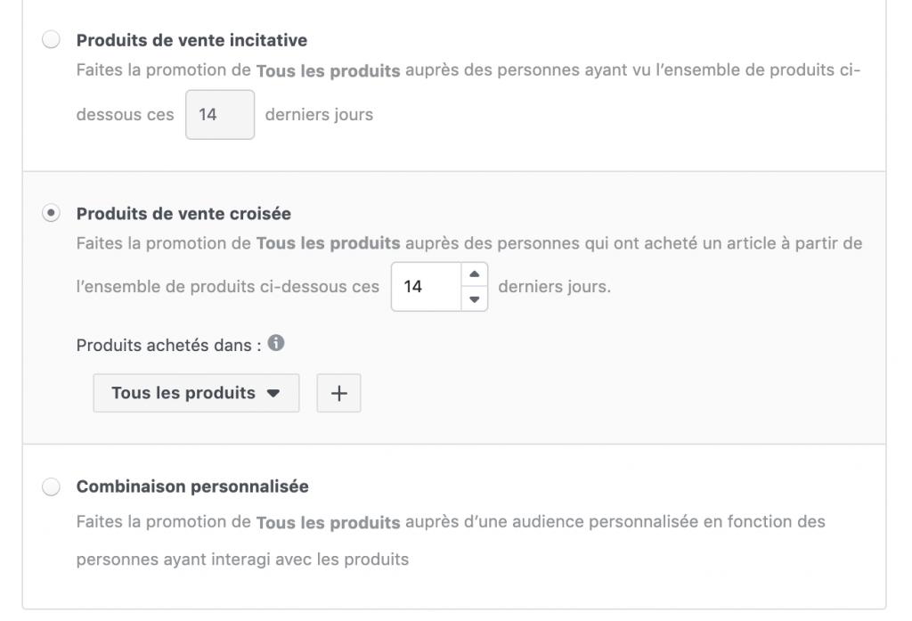 Facebook ventes catalogue produits de vente croisée