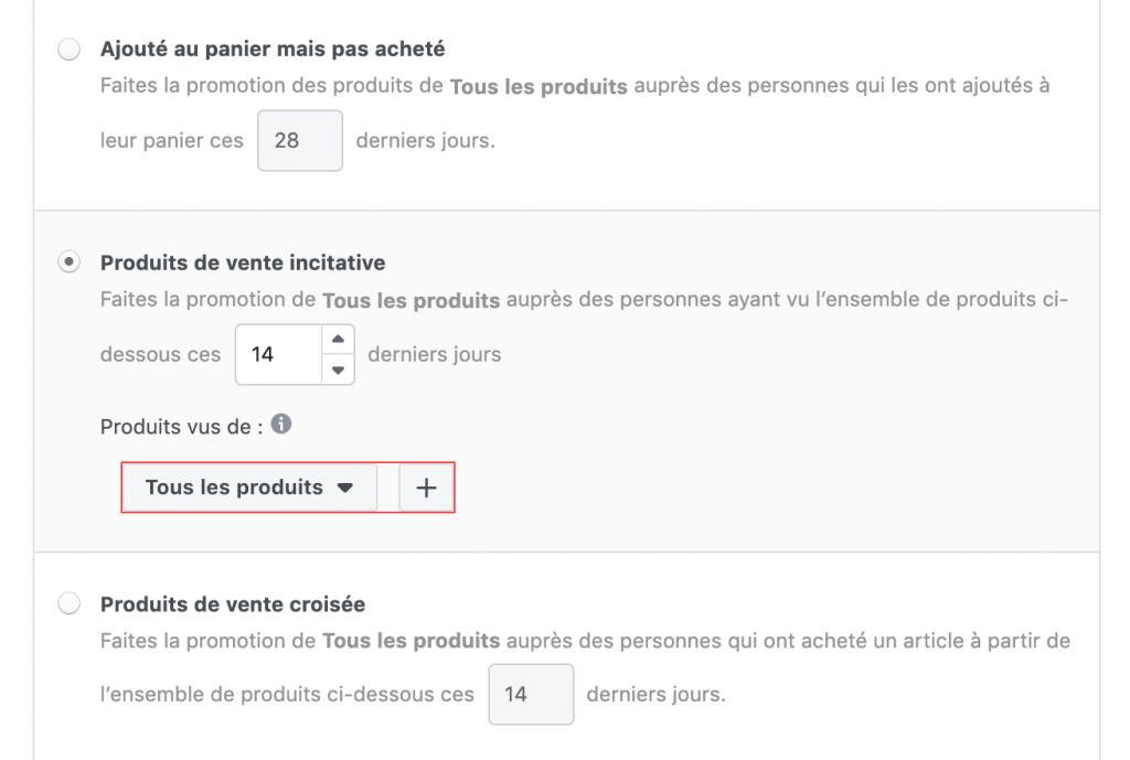 Facebook ventes catalogue produits de vente incitative