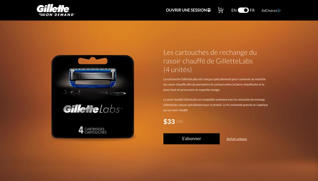 abonnement Gillette razoir chauffant